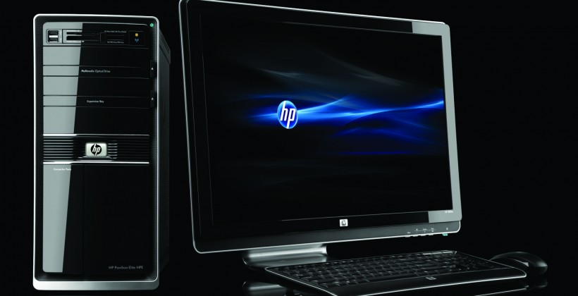 HP Pavilion Elite HPE Desktop PC, HP 2509m monitor, on black