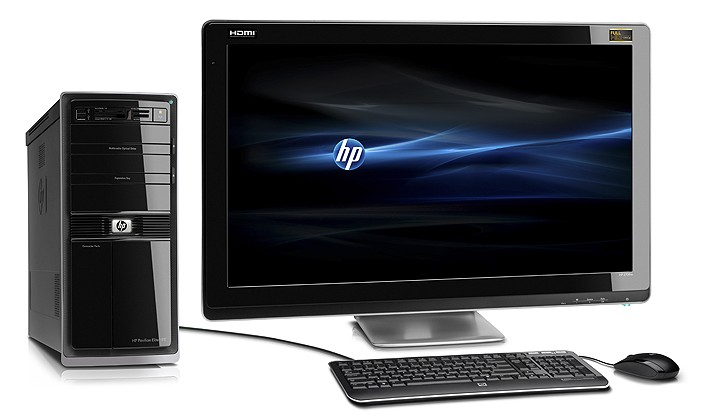 HP Pavilion Elite HPE Desktop PC, HP 2509m monitor, on white
