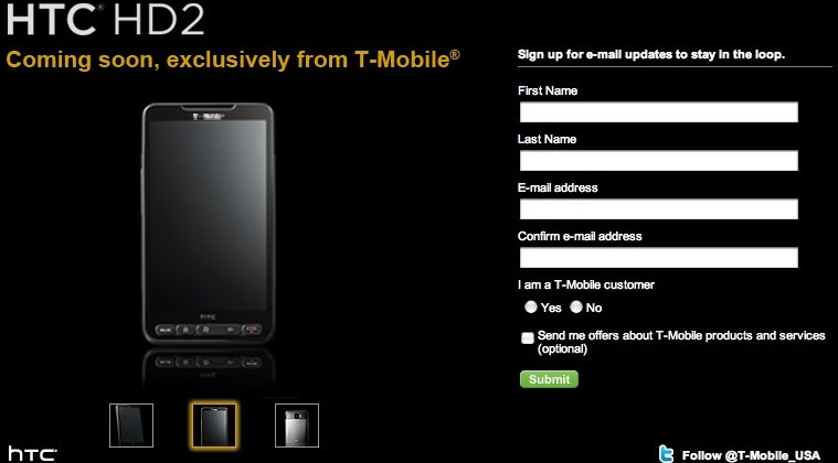 HTC HD2 confirmed for T-Mobile USA in Spring 2010