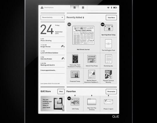Plastic Logic QUE official: wireless downloads, truVue e-magazines
