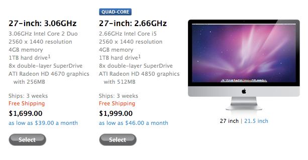 Apple 27-inch iMac orders face three week delay