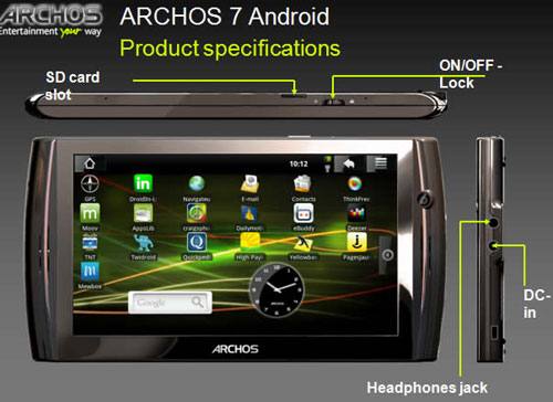 Archos 7 Android tablet details surface in full