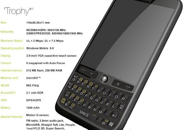 HTC Trophy gets clearly pictured: QWERTY/touchscreen WinMo candybar [Update: It's a fan render]