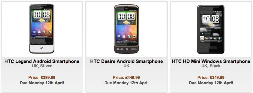 HTC Legend, Desire & HD mini preorders tip April 12th release