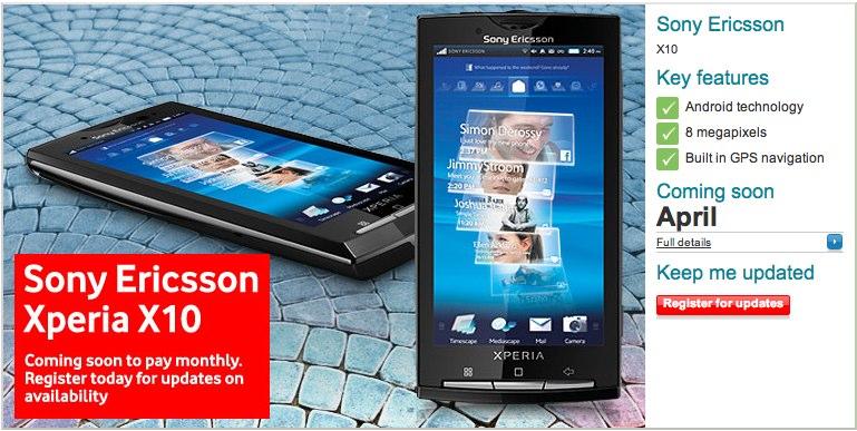 Vodafone UK getting Sony Ericsson XPERIA X10 in April