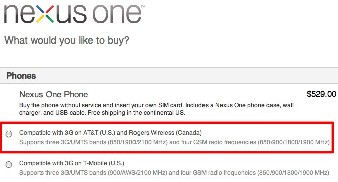 New Nexus One gets AT&T and Rogers 3G/UMTS
