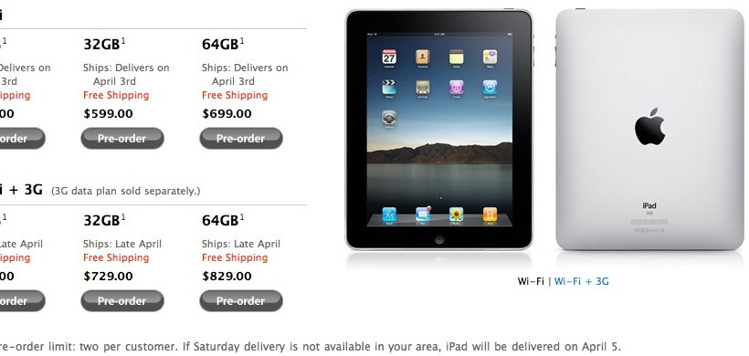 Apple iPad up for preorder now