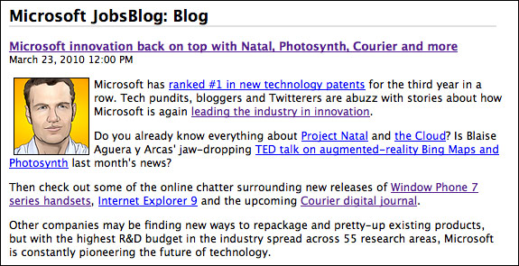 Microsoft Courier tipped in innovation JobsBlog article