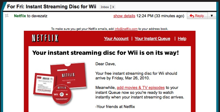 Netflix for Wii instant-streaming discs shipping now