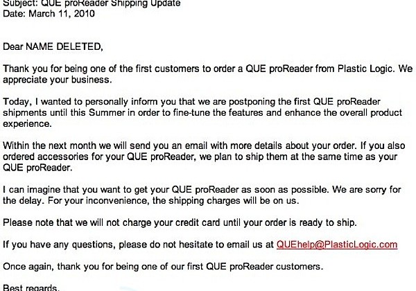 QUE proReader delayed until summer