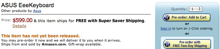$599 ASUS Eee Keyboard gets Amazon preorder