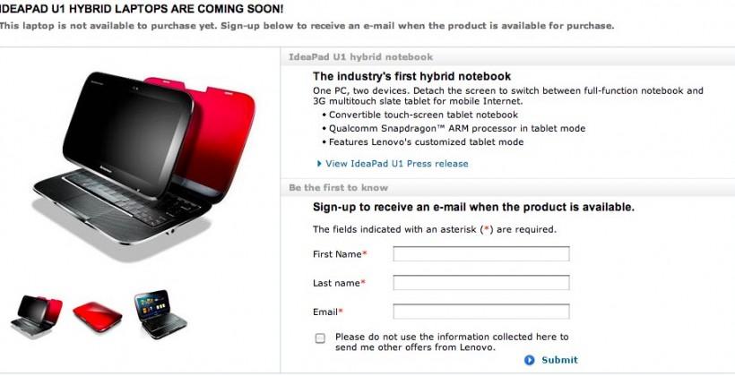 "IdeaPad U1 Hybrid ""coming soon"" reiterates Lenovo"