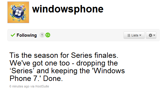 Microsoft Windows Phone 7 Series Now Called Windows Phone 7