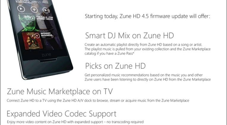 Microsoft Zune HD 4.5 Update Available Now