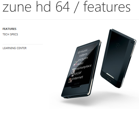 Microsoft Zune HD 64GB Available Now