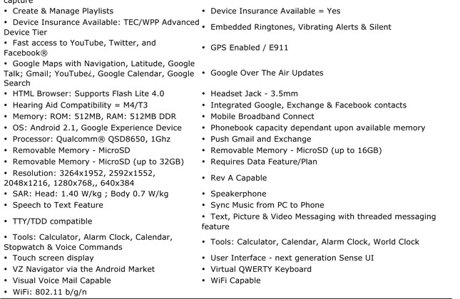 Full HTC Incredible specs leak from Verizon