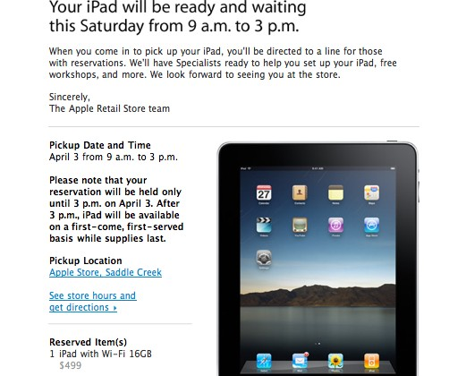 Apple iPad Reminder: Pick Your Reservations Up Tomorrow at 9AM