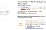 Amazon lists 3D TV with built-in Blu-ray player from unknown StreamTV brand