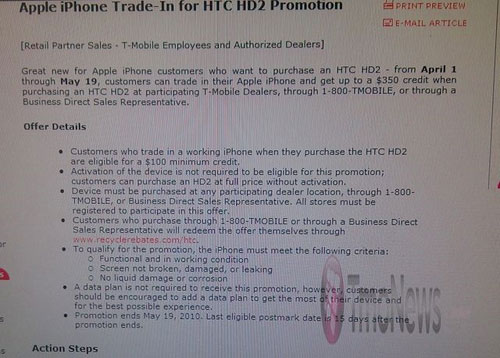 T-Mobile dealers will let you trade iPhone for HTC HD2