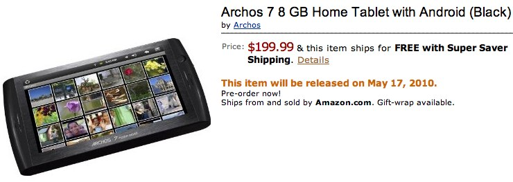Amazon Archos 7 8 GB Home Tablet with Android