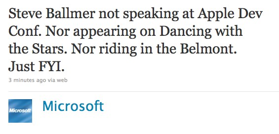 Steve Ballmer Won't be Making it to WWDC, or Dancing With the Stars