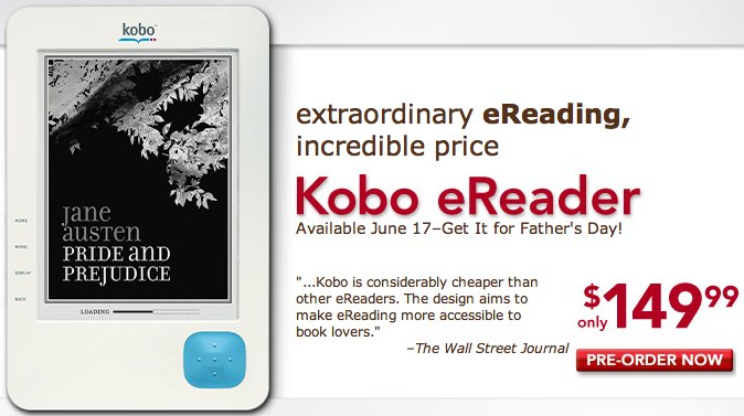 Kobo ereader hits Borders preorder for $150