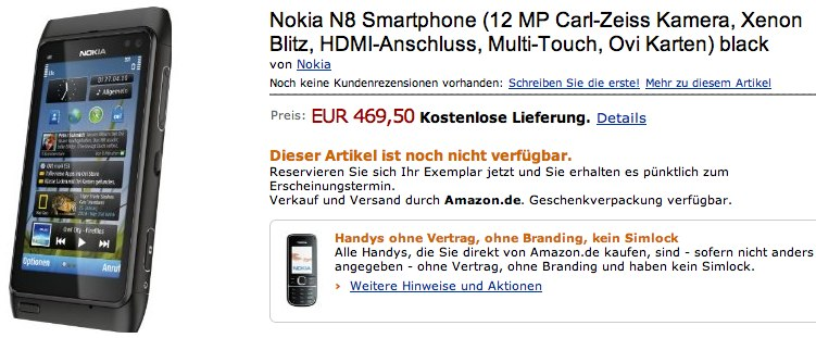 Nokia N8 hits Amazon preorder