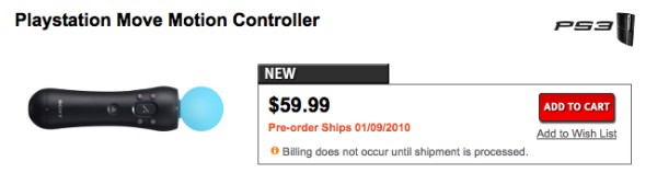 PlayStation Move Motion Controller $59.99 in Canada