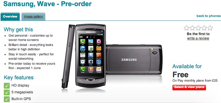 Samsung Wave S8500 hits Vodafone UK June 1st