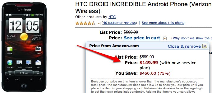 Verizon HTC Incredible down to $150 at Amazon