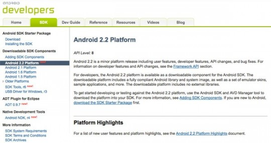 Google release Android 2.2 Froyo SDK for devs