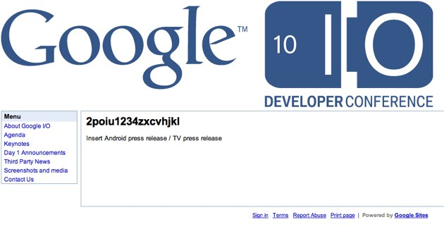 "Google ""Smart TV"" launch at IO confirmed by press site"