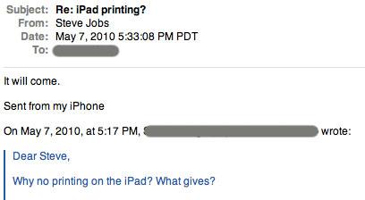 "iPad printing ""will come"" says Steve Jobs"