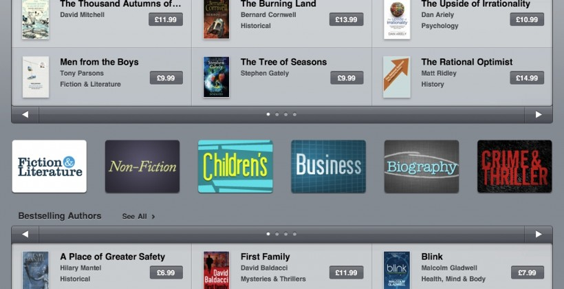 UK iBookstore shelves filled for iPad readers