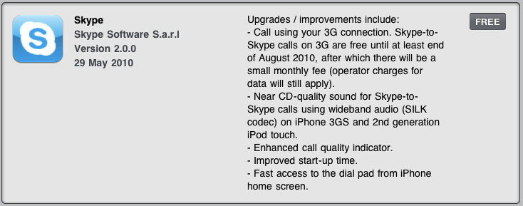Skype for iPhone gets 3G VoIP; subscription fee from September