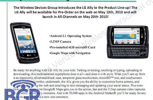 Verizon LG Ally detailed: Android 2.1 on May 20th