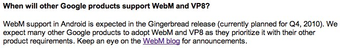 "WebM tip Android ""Gingerbread"" coming in Q4 2010"