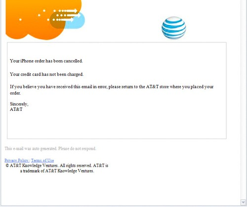 iPhone 4 orders cancelled by AT&T and Apple for the second time?