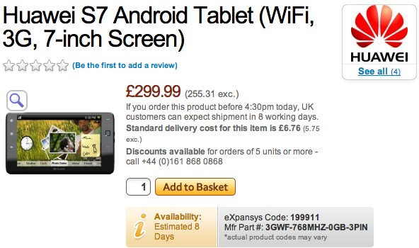 Huawei S7 Android tablet up for £300 preorder