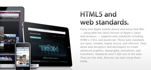 Apple adds page for HTML5 and web standards showcase