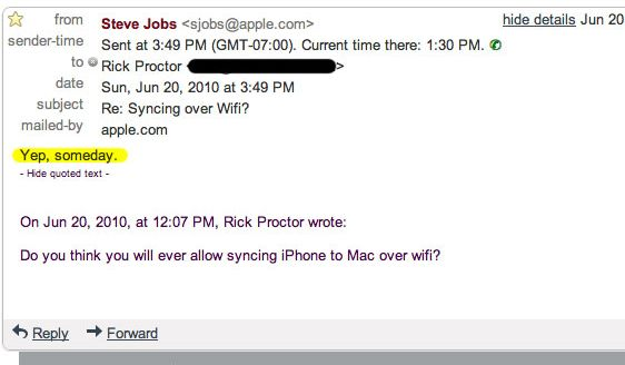 Steve Jobs confirms WiFi iTunes sync is coming, iPhone Hold button was pointless