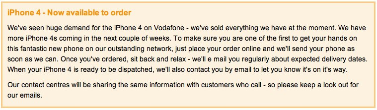 Vodafone first to iPhone 4 sell-out