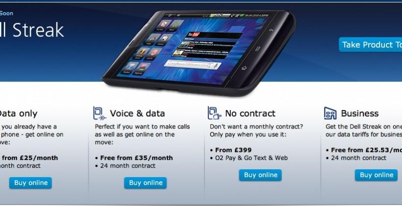 O2 Dell Streak on sale now!