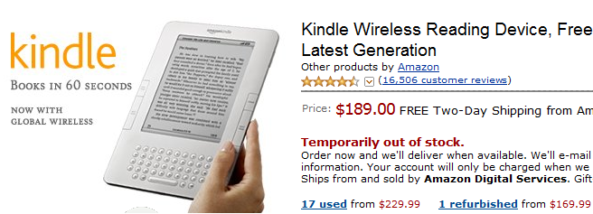 Amazon Kindle Sold Out: No Estimated Date of Availability