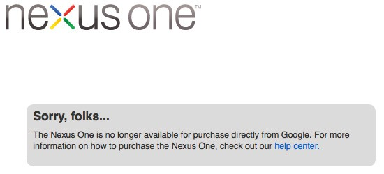 Google Nexus One Officially Sold Out from Store