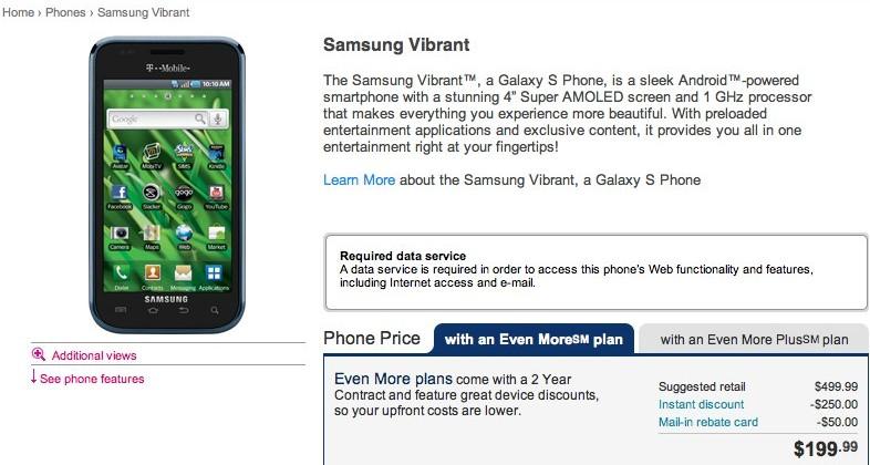 Samsung Vibrant hits T-Mobile USA for $200