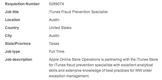 Apple recruiting iTunes Fraud Prevention Specialist