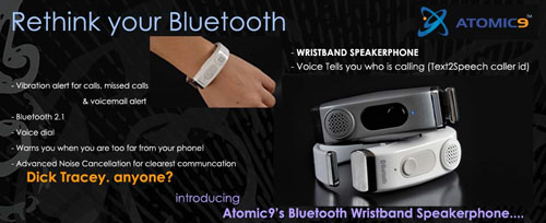 Atomic9 debuts Bluetooth Wristband Speakerphone