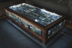 Circuit board table is geek furniture gold