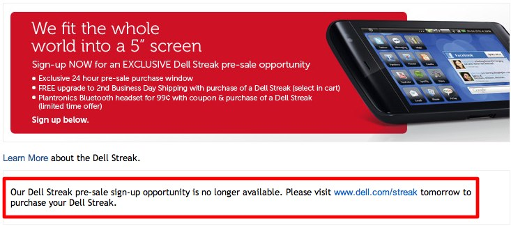 US Dell Streak on sale July 28th [Update: pre-sale is back]